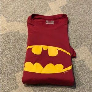 Maroon under armour Batman athletic tee